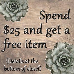 ⭐ Spend $25, Get a Free Item ⭐